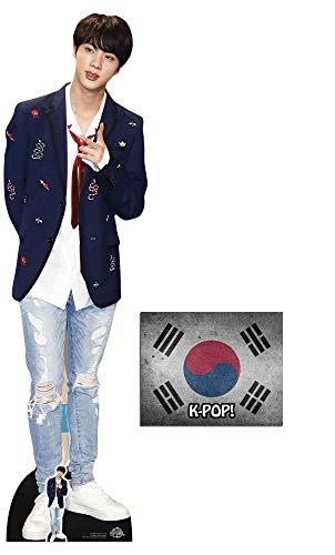 BundleZ-4-FanZ Jin Bangtan Boys Lebensgrosse und Klein Pappfiguren/Stehplatzinhaber / Aufsteller Fan Pack, 179cm x 48cm Enthält 8X10 (25X20Cm) starfoto