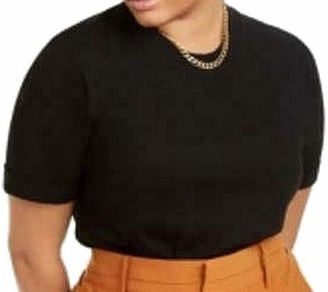 Danielle Bernstein Women's Bodysuit Small Knit Tee Crew Black S