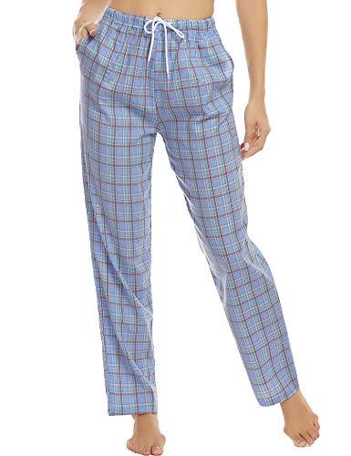 Hawiton Pantalones de Pijama para Mujer Largo Pantalon de Dormir Algodón de Estrella