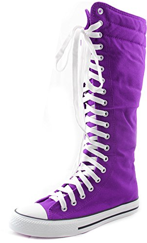 DailyShoes Women's Sneaker Boots Booties Knee-high Mid Calf High Tube Fashion Sneakers Lace Up Snow Winter Hiking Shoes Warm Lace-up Super Top Athletic for Women Punk-hi Purple 11
