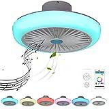 Ventilador de Techo con Lámpara RGB Cambios de Color con Mando a Distancia y APP Luz del Ventilador con Bluetooth Altavoz Regulable Silenciar Ventilador para Salón Cuarto de los Niños 72W 45CM