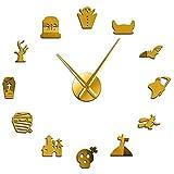 Leeypltm Reloj de Pared Retro Grande,Fiesta de Halloween 37 Pulgadas Dorado DIY Reloj de Pared sin Marco Espejo Grande 3D Sticker para Decorar La Oficina o Casa