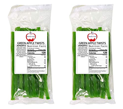 Green Apple Licorice Vines, Candy for Kids in Snack Size Bags, 8 Ounce Each, Pack Of 2