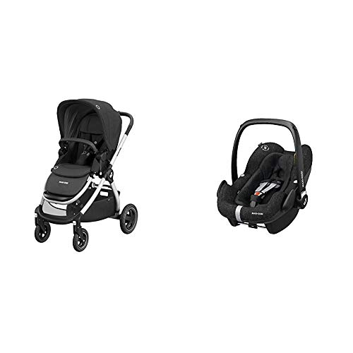 Maxi-Cosi Adorra Baby Pushchair, Comfortable and Lightweight Stroller with Huge Shopping Basket, 0 Months - 3.5 Years, 0-15 kg, Group 0+, ISOFIX Seat, 0-12 m, 0-13 kg, 45-75 cm, Nomad Black