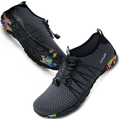 SIMARI Water Shoes Mens Womens Sports Quick Dry Barefoot Diving Swim Surf Aqua Walking Beach Yoga 207 Gray