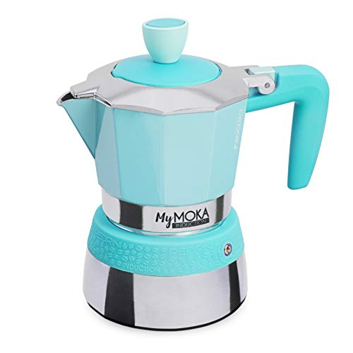 PEDRINI MyMoka Kaffeemaschine für Induktionskochfeld, 3-Tassen-Format, Espressokocher Moka Beachblue Farbe (Blau), Stahl außen, Aluminium innen, italienisches Design, Maße 15 x 9 x 15 cm