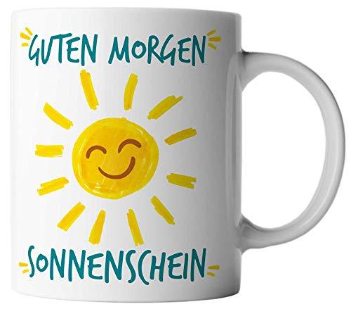 vanVerden Tasse Guten Morgen Sonnenschein Sonne Smiley Motivation Happy Fun Mug, Farbe:Weiß/Bunt