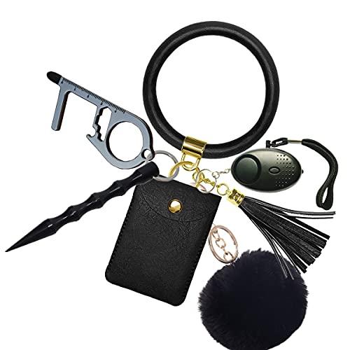 Pulsera de llavero de protección para mujer, 130 db, con dispositivo de alarma de aluminio, palo de defensa, llavero, sacacorchos de piel