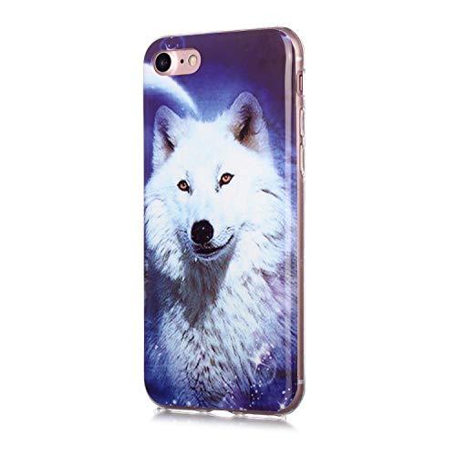Fatcatparadise für iPhone 8/7 Hülle (4,7 Zoll) + Displayschutz, [Mondlicht] Weich Silikon Handyhülle Schlank Flexible TPU Bumper Handytasche Gummi Dünn Abdeckung Schutzhülle (Sternenhimmel Wolf)