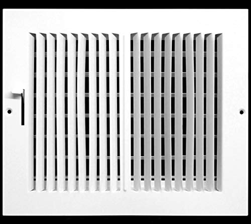 10'w X 8'h 2-Way-Flat Stamped Steel - Vent Cover - Grille Register - Sidewall or Ceiling - High Airflow - White [Outer Dimensions: 11.75'w X 9.75'h]