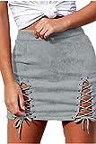 Meyeeka Slit Lace Up High Waist Bodycon Faux Suede Mini Skirt for Women Gray XL