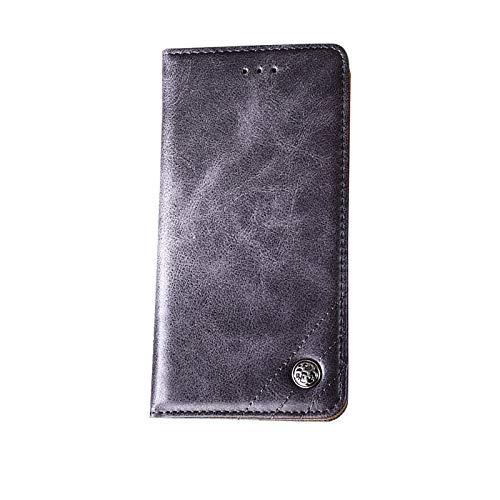 【ガラスフィルム付き】 iPhone XR ケース 手帳型 横開き PUレザー 耐衝撃 カード収納 スタンド機能 ストラップホール付き ワイヤレス 充電対応 軽量 薄型 ブランド 正規品 (グレー)