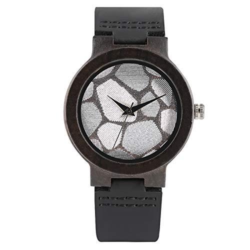 Minimalist Women Natural Wood Ebony Case Round Dial Women's Wrist Genuine Leather Fashion Wooden Watch Best Gifts Black Band 1