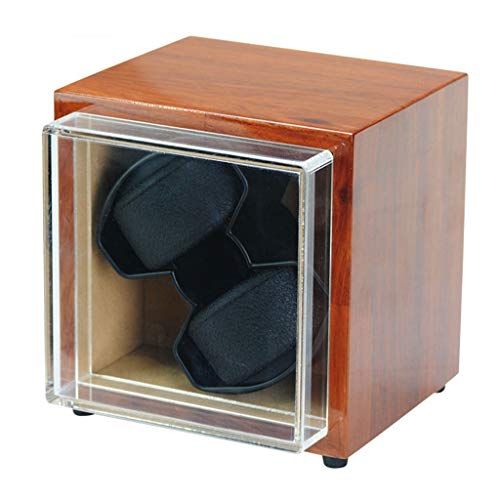 QLL Due Posti Watch Winder Scatola Design Antimagnetico, Super Silenzioso Motore, Adattatore AC Incluso (Color : Brown)