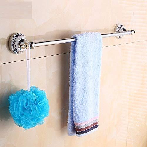 XZZJZ Toallero Cobre Varilla Simple Baño Retro Porcelana Azul y Blanca 50cm Colgante de Toalla de Plata
