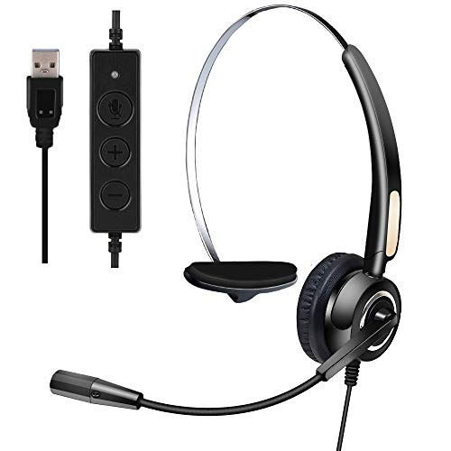 Computer Headset, USB Headset with Noise Cancelling Microphone for Computer/PC/Laptop/Skype/Conference/Call Center and Working from Home, Business Black