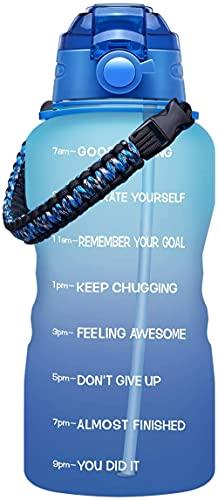 Yidieman Botella de Agua para Deportes de Gimnasio,Botella de Agua Deportiva con asa y Pajita-Azul Claro_1600ml,Sin BPA tóxico con Tapa con bisagras