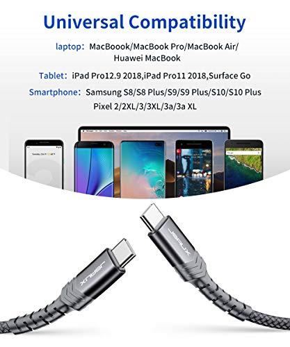 JSAUX USB-C auf USB-C Kabel 3M 100W[20V 5A], USB Typ C Ladekabel 100W Kompatibel für iPad Pro 2018, MacBook Pro 2019/2018/2017, Surface Book 2, Galaxy S20/S20 Ultra/S10/S9/S8, Google Pixel 3/3XL Grau