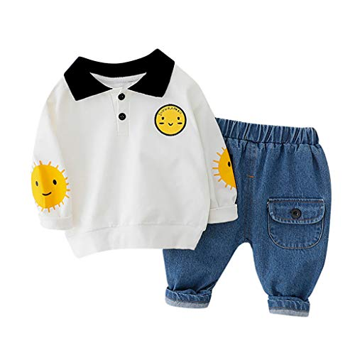 Kinder Bekleidungsset Langarm Junge Smiley Drucken T-Shirt Pullover Tops Hosen Outfit Kleinkind Baby Sweatshirt Hose Einstellen(1-6Jahre) Yuiopmo