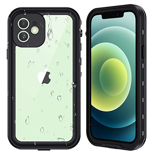 Ruky iPhone 12 Waterproof Case, Built-in Screen Protector IP68 Underwater Full Body Sealed Rugged Cover Clear Sound Anti-Scratched Heavy Duty Shockproof Waterproof Cases for iPhone 12 6.1