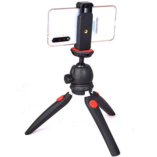 Phone Tripod, Riqiorod Tabletop Ring Light Stand, Portable and Adjustable Camera Stand Holder with Wireless Remote and Universal Clip, Compatible with iPhone, Android Phone, Sports Camera GoPro (M9)