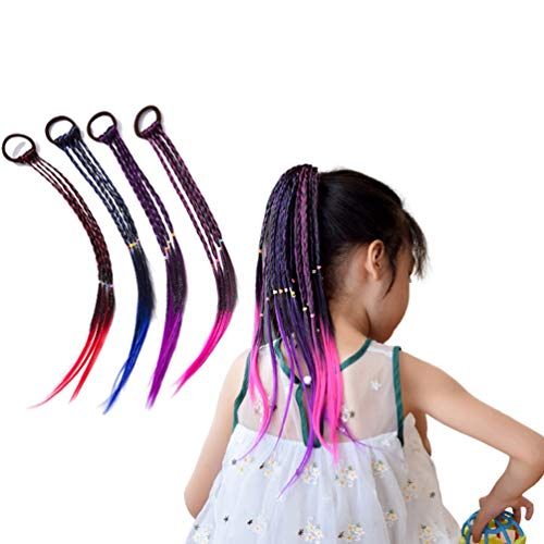 Rauoawby Girls Wigs Braid Set of 4 Braided Wigs with Elastic Hair Ring Ties for Costume Accessories Birthday Gift