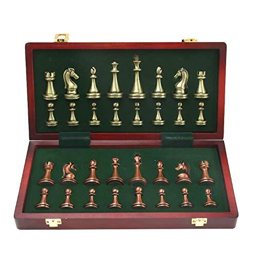 GYPPG Juego de ajedrez Staunton Style Chess Set, Piezas de ajedrez de aleación de Zinc Hechas a Mano de Calidad con Tablero de ajedrez Plegable, ajedrez para Adultos, niños comienzan (ro
