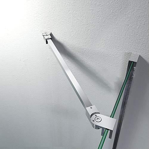 Stabilisator Haltestange 475 mm Edelstahl Winkel flexibel einstellbar Wandmontage für Glasstärken 6-10 mm Duschabtrennung Duschkabine GS12475