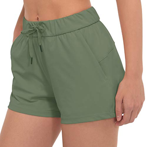 PIQIDIG High Waisted Shorts for Women Elastic Waist Workout Running Shorts with Pocket Light Green