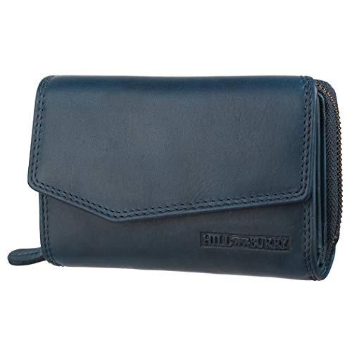 Hill Burry Echtleder Damen Geldbörse Hochwertig Vintage Chunkyrayan 13092 Blue