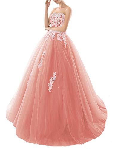 HUINI Quinceanera Kleider Lang Elegant Ballkleid Brautkleid Standesamt Glitzer Abendkleider Damen Tüll mit Schleppe Koralle 56