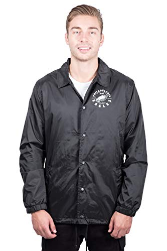 Ultra Game NFL Philadelphia Eagles Men's COACH JACKET, Black, Large
