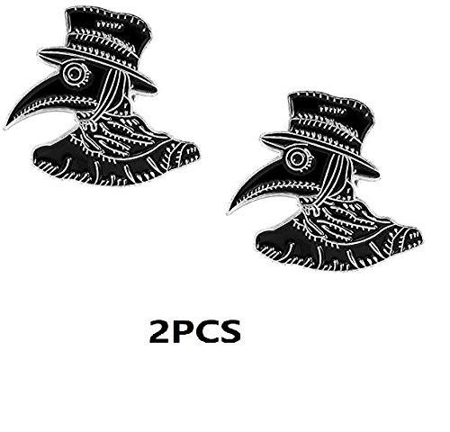 Nobranded 2PCS Plague Doctor Esmalte Pins Doctor Broches Punk Steampunk Joyas Insignias Broche Solapa Pines para Regalos