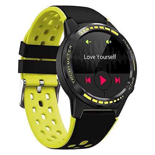 SmartWatch Pulsera SIM Tarjeta Sim Llamada Smart Watch GPS Smartwatch para Hombres Compass Barómetro Altitud Alternar Impermeable Smart Watch Men Smart Sports Watch (Color : Yellow)