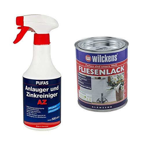 Set 1x Fliesenlack 0,75 Liter (weiß) mit 1x Anlauger und Zinkreiniger AZ 0,5 Liter