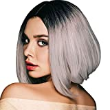 Onpep Short Bob Wigs Ombre Gray Straight Wig for Women Shoulder Length Silver Grey Synthetic Wigs