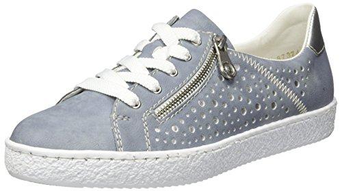 Rieker Damen L4828 Sneaker, Blau (Blue/Silver), 40 EU