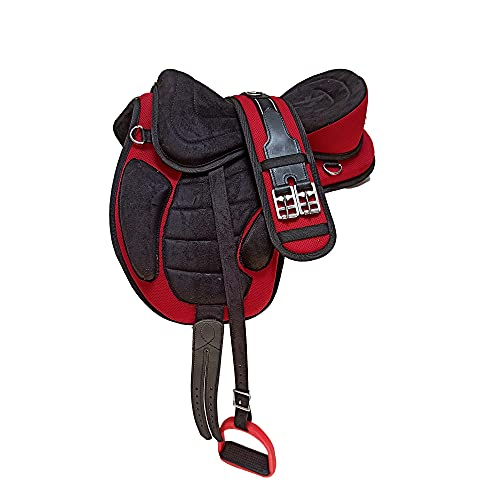 Wonder Wish - Freemax - Silla de montar a caballo de uso general, tamaño de 30,4 a 45,7 cm, rojo, 16 Inches Seat