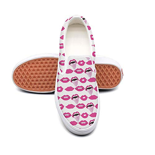 Sernfinjdr Women's Sexy Lips hot Lip red Lip Casual Canvas Slip on Shoes Designer Golf Shoes