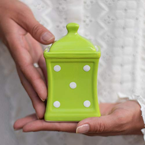 City to Cottage | Jarre de conservation Bocal à herbes, à épices | vert pomme à pois blancs en céramique avec couvercle fait et peint à la main | Petit 150ml