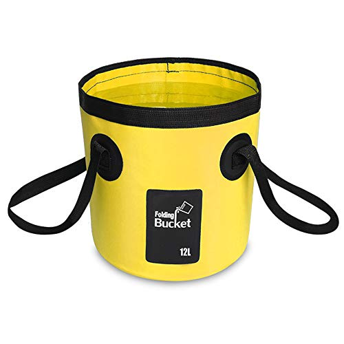 YAVO-EU Cubo Plegable Cubeta Plegable Agua portátil(12L) Robusto, Ligera, Ahorra Espacio para Vacaciones, Jardín, Exterior, Pesca y Camping (Amarillo)