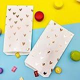 Caja de regalo: caramelos de papel, bolsa de 25 unidades, color blanco y rosa, hoja de oro, corazón para boda, aniversario, boda, cumpleaños, fiesta, suave bolsa, color Gold Emboss Sticker talla única