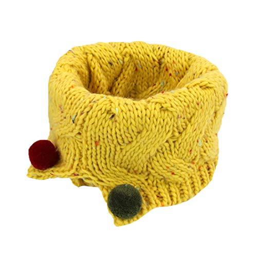 Boomly Autunno e Inverno Carino Caldo Sciarpe Lana a Maglia O-ring Loop Sciarpa Sciarpe con Pom Pom Sciarpa Infinita Scaldacollo per Bambini (Giallo)