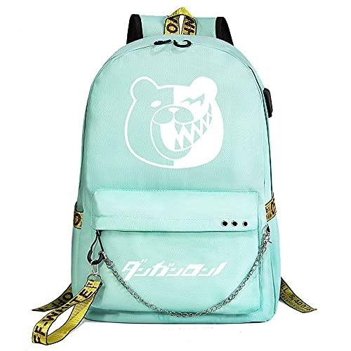 ZZGOO-LL Anime Movie Animal Cartoon with Chain USB Mochila de Anime Backpack de Escuela Secundaria para Estudiantes para Mujeres/Hombres Green-C