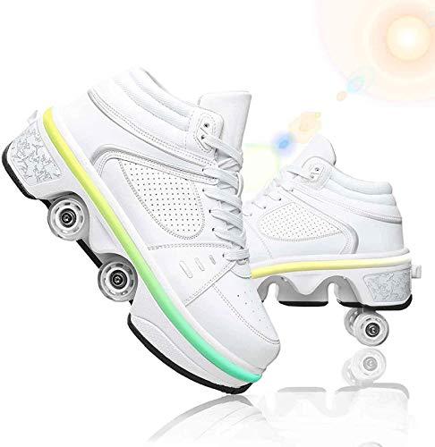 GKZJ 7 Luces LED De Colores, Zapatos con Ruedas, Zapatos De Skate para Mujer, Patines En Línea,Zapatos Multiusos 2 En 1,Botas Ajustables para Patines De Cuatro Ruedas,White-EUR37