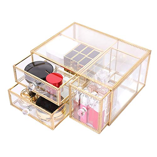 Transparante make-up-organizer, transparant glas, met deksel, stofdichte lade, make-up, cosmetica, opbergkoffer