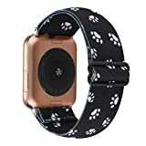 Adjustable Elastic Wrist Band Compatible with Apple Watch 38mm 40mm, Nylon Stretchy Solo Loop Bracelet Women Replacement for iWatch Series 6/5/4/3/2/1 (Black Dog Paw, 38mm/40mm)