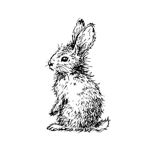 Sello de conejo con pompón, sello de madera, para scrapbooking, tarjetas de Pascua DIY