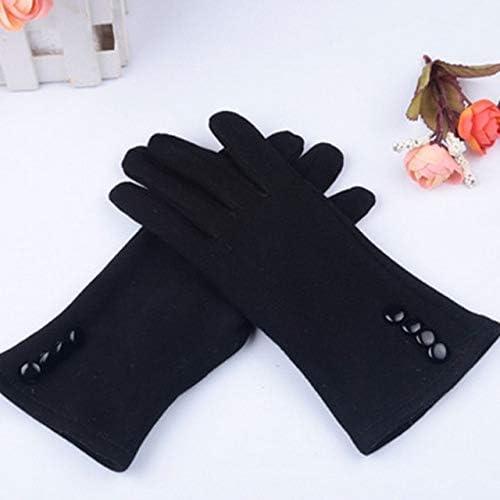 Winter Warm Ladies Girls Cashmere Fashion Screen Gloves Winter Warm Wrist Gloves Mittens - (Color: Black, Gloves Size: One Size)