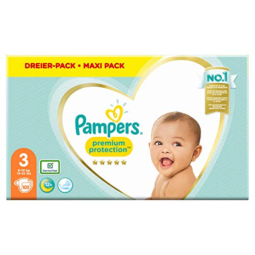 Pampers Premium Protection Windeln, Gr. 3, 6kg-10kg, Dreier-Pack (1 x 105 Windeln)